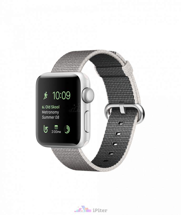 Фото Купить Apple Watch Series 2, 38 мм, Silver Aluminum Case with Pearl Woven Nylon (MNNX2)