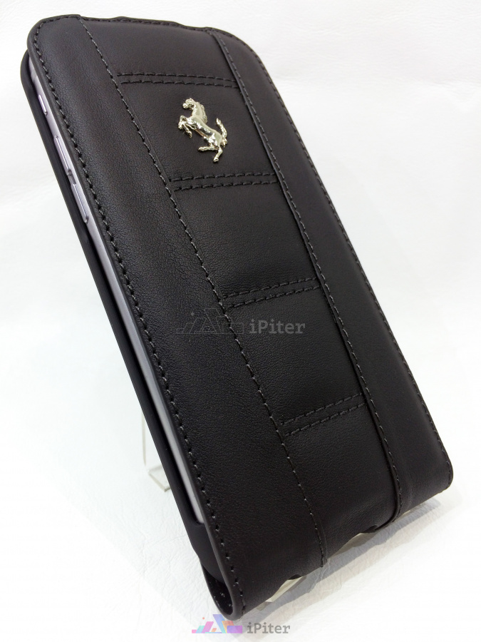 Фото Ferrari Real Leather Flip Case для iPhone 6s / 6, Чёрный
