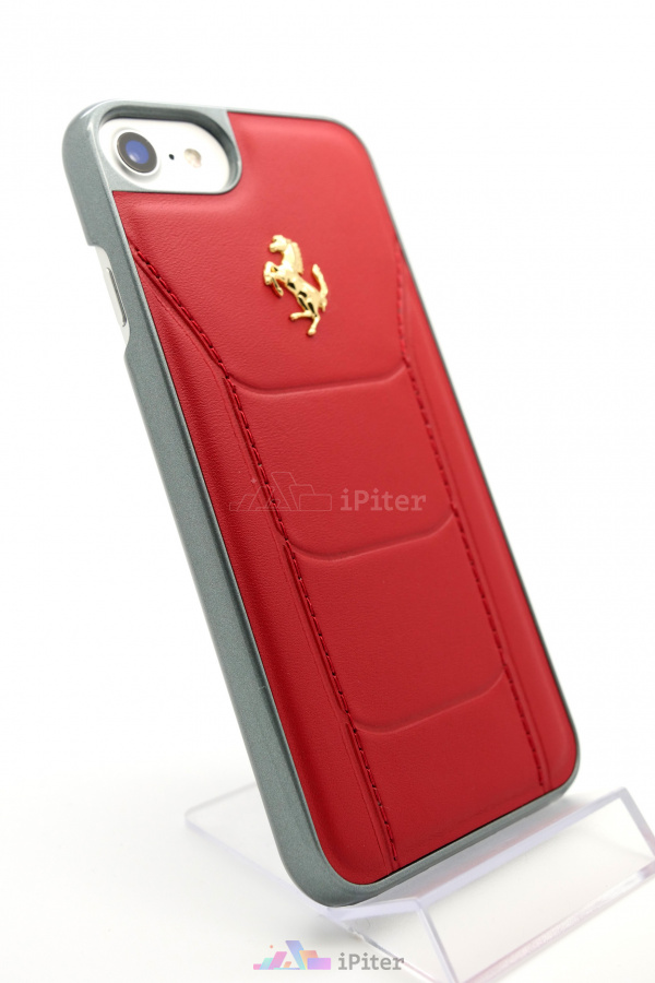 Фото Чехол Ferrari Genuine Leather Hard для iPhone 8 / 7, Красный