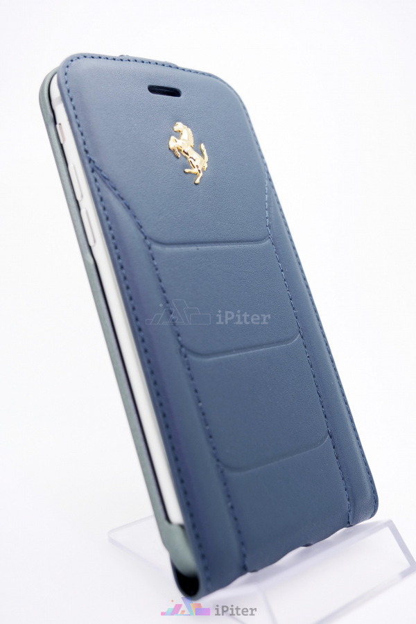 Фото Чехол Ferrari Genuine Leather Flip Case для iPhone 8 / 7, Темно-синий