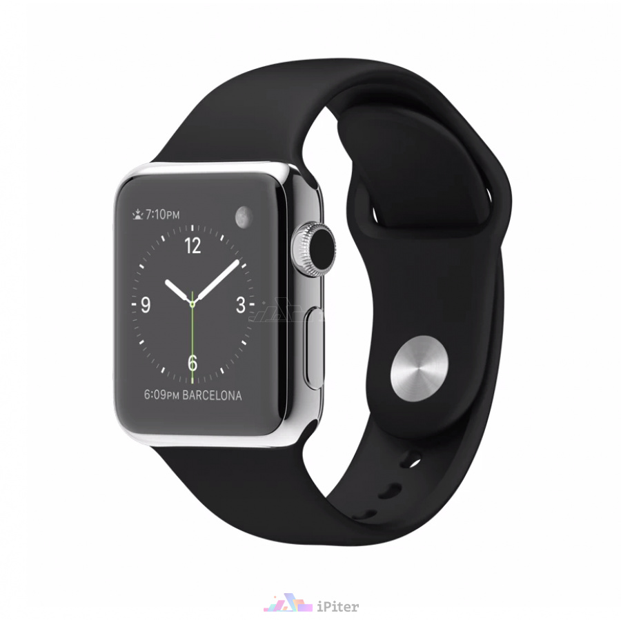 Фото Apple Watch, 38 мм, Stainless Steel Case with Black Sport Band (MJ2Y2)