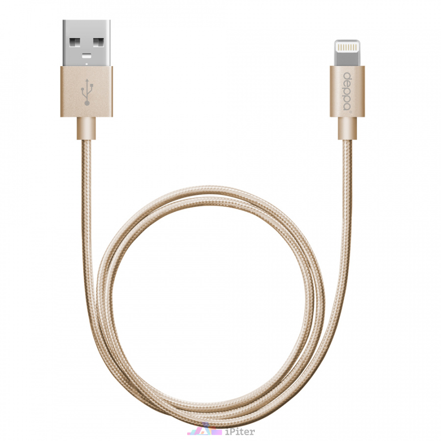 Фото Дата-кабель Deppa USB - 8-pin для Apple, MFI, Gold