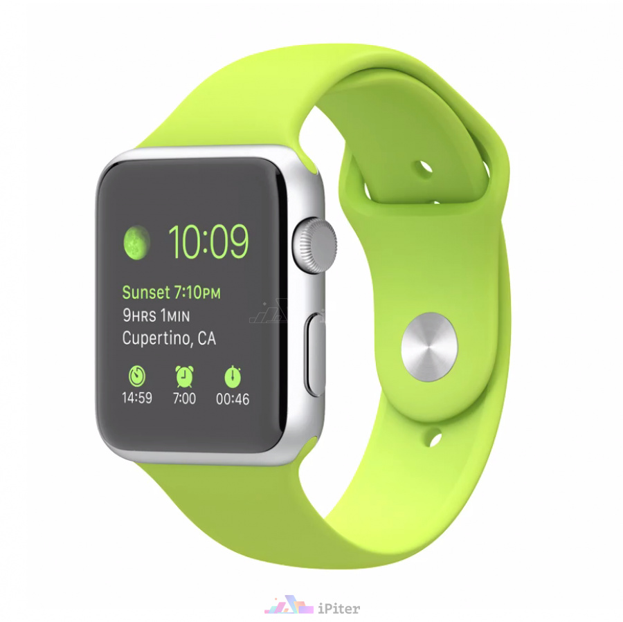 Фото Купить Apple Watch Series 1, 42 мм, Silver Aluminum Case with Green Sport Band