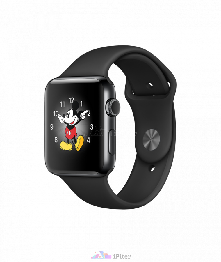 Фото Apple Watch Series 2, 42 мм, Space Black Stainless Steel Case with Black Sport Band (MP4A2)