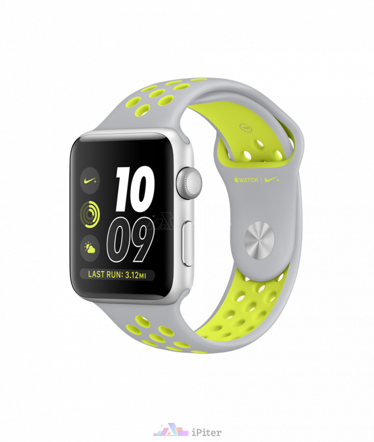 Фото Купить Apple Watch Nike+, 42 мм, Silver Aluminum Case with Flat Silver/Volt Nike Sport Band (MNYQ2)