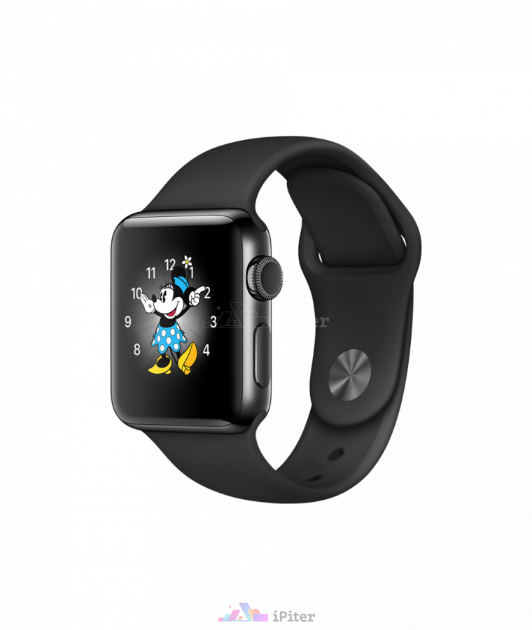 Фото Купить Apple Watch Series 2, 38 мм, Space Black Stainless Steel Case with Black Sport Band (MP492)