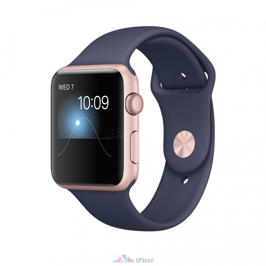 Фото Apple Watch Series 1, 42 мм, Rose Gold Aluminum Case with Midnight Blue Sport Band (MNNM2)