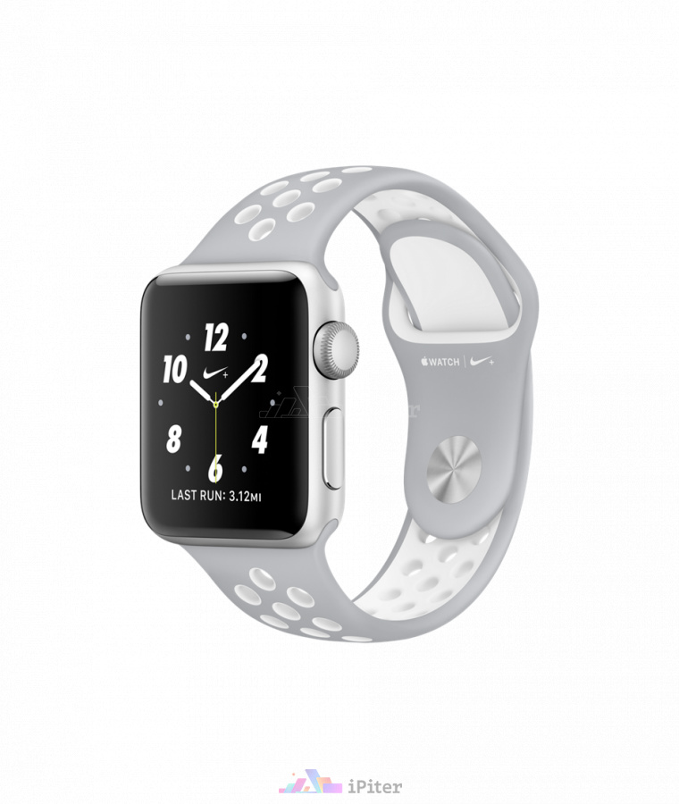 Фото Купить Apple Watch Nike+, 38 мм, Silver Aluminum Case with Flat Silver/White Nike Sport Band (MNNQ2)