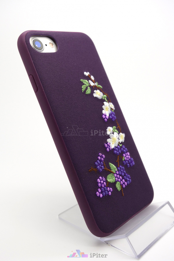 Фото Чехол Devia Flower Embroidery для iPhone 8 / 7, Фиолетовый