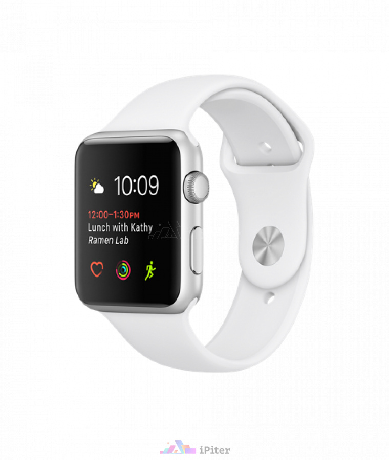 Фото Купить Apple Watch Series 1, 42 мм, Silver Aluminum Case with White Sport Band (MNNL2)