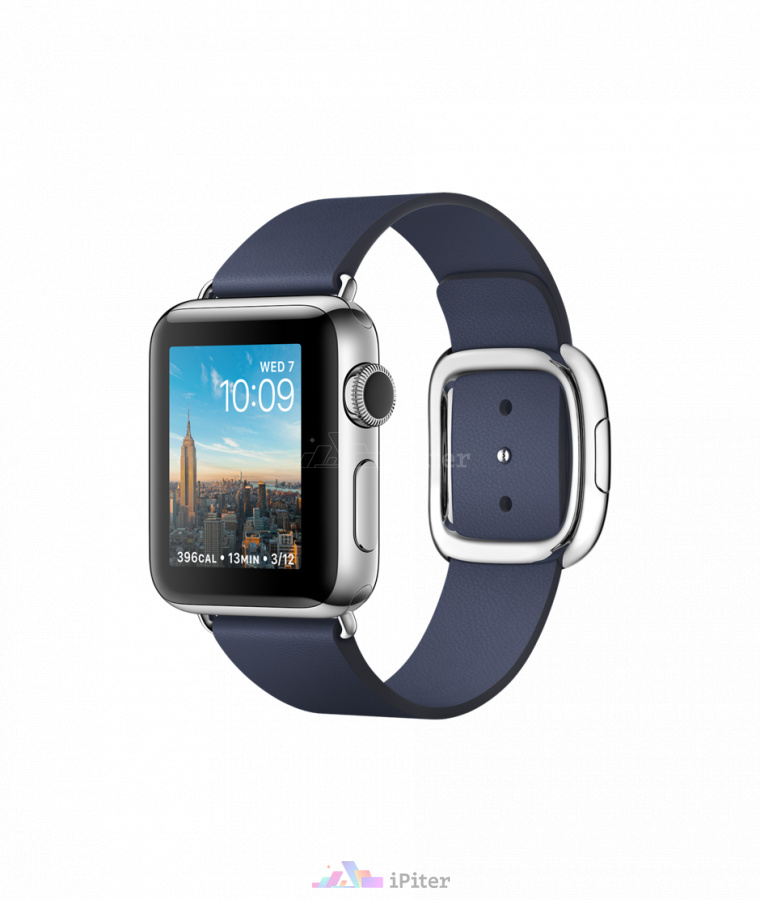 Фото Купить Apple Watch Series 2, 38 мм, Stainless Steel Case with Midnight Blue Modern Buckle (MNP92)