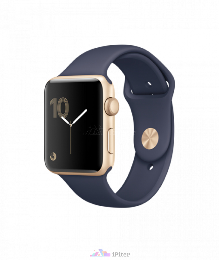 Фото Купить Apple Watch Series 1, 42 мм, Gold Aluminum Case with Midnight Blue Sport Band по низкой цене в СПб