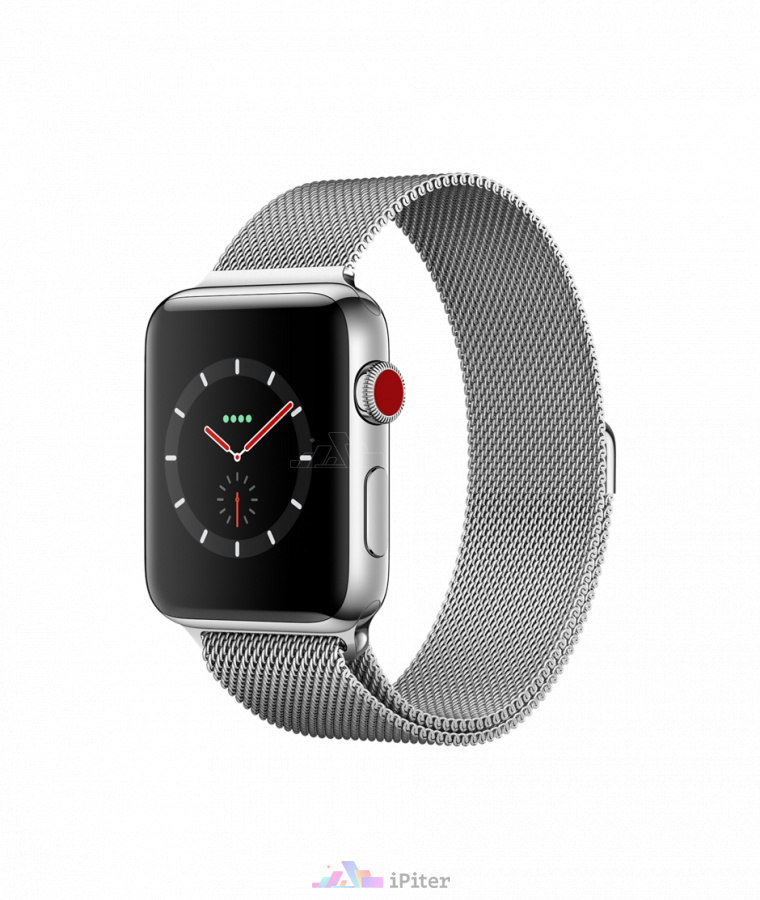 Фото Купить Apple Watch Series 3 (MR1J2) <br>42 мм, Stainless Steel Case with Milanese Loop по низкой цене в СПб