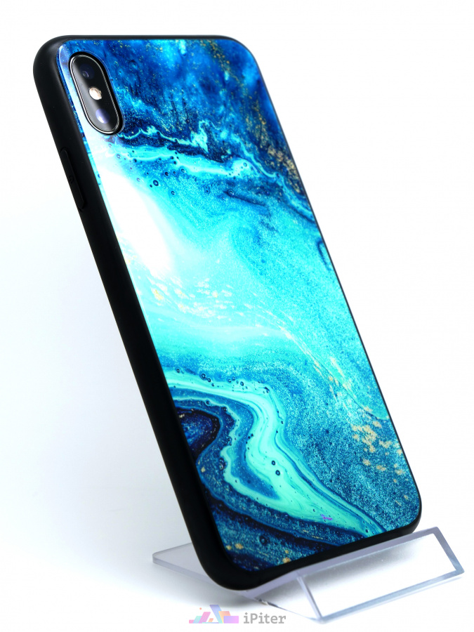 Фото Чехол Deppa Glass Case для iPhone XS Max, Голубой