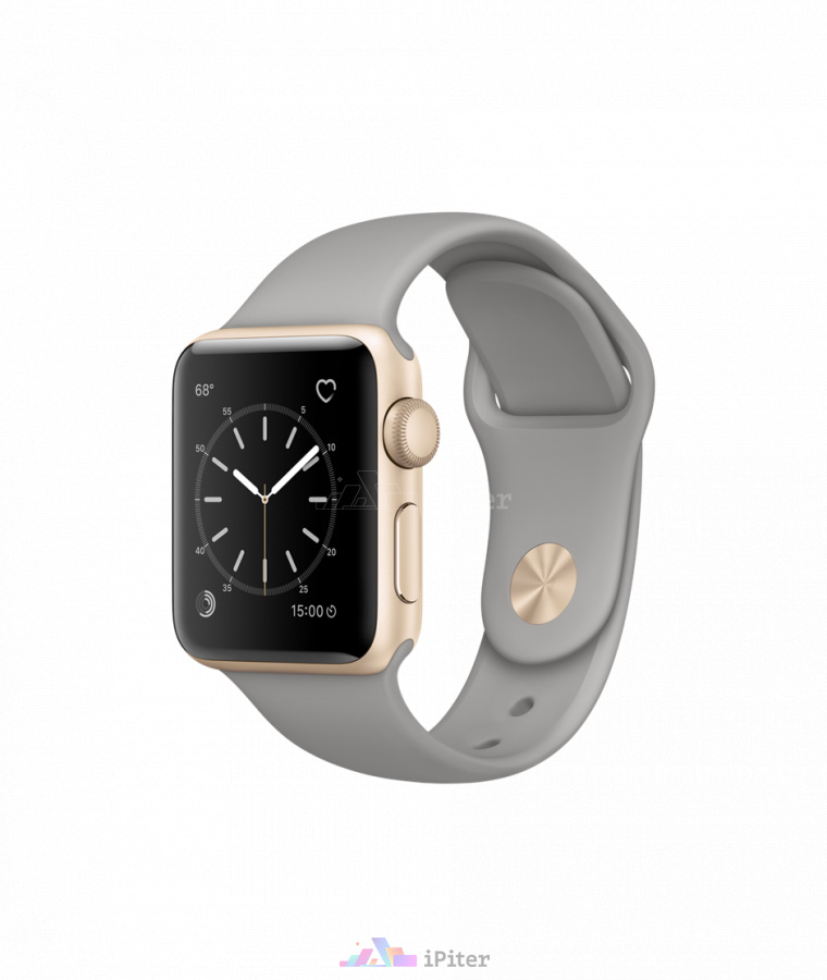 Фото Купить Apple Watch Series 1, 38 мм, Gold Aluminum Case with Concrete Sport Band (MNNJ2)