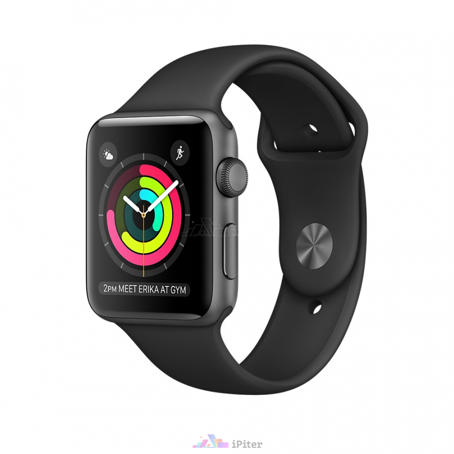 Фото Купить Apple Watch Series 1, 42 мм, Space Gray Aluminum Case with Black Sport Band (MP032)