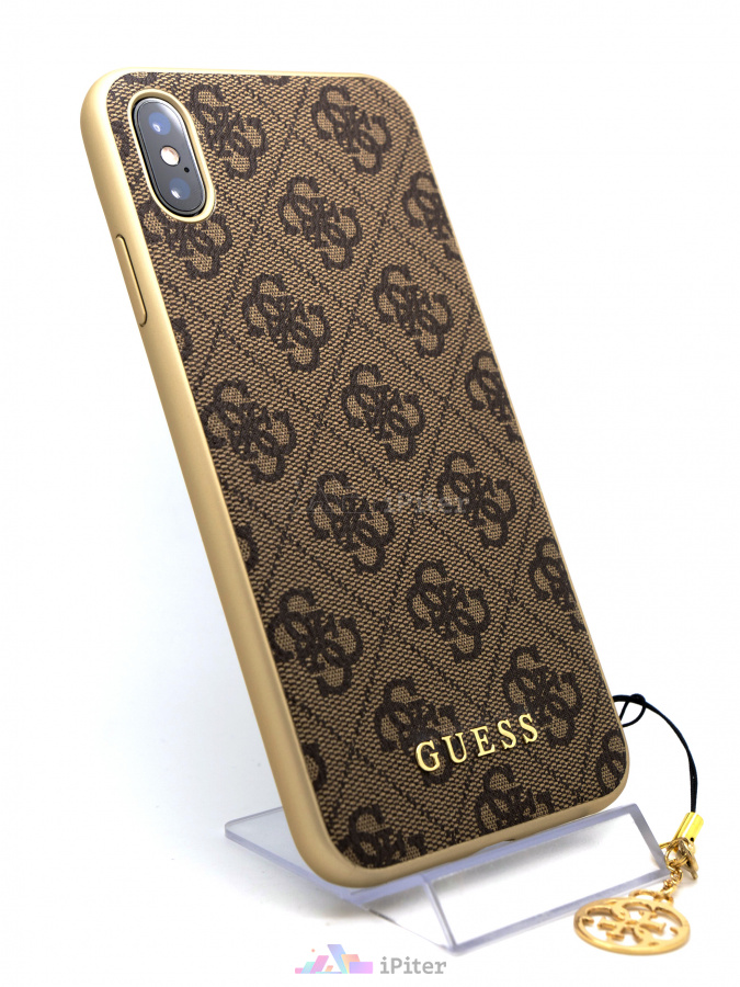 Фото Чехол Guess Charms Collection Hard для iPhone XS Max, Бежевый