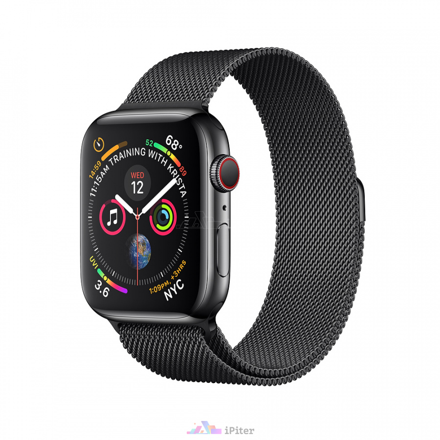 Фото Купить Apple Watch Series 4 (MTV62) 44mm, eSim, Space Black Stainless Steel Case with Space Black Milanese Loop по низкой цене в СПб