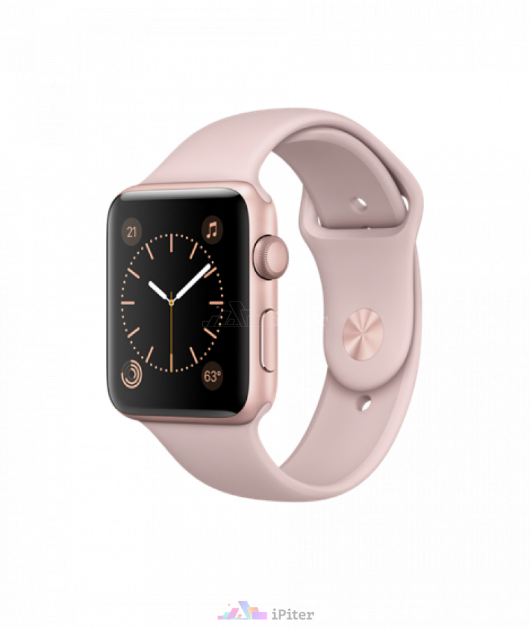 Фото Купить Apple Watch Series 2, 42 мм, Rose Gold Aluminum Case with Pink Sand Sport Band (MQ142)