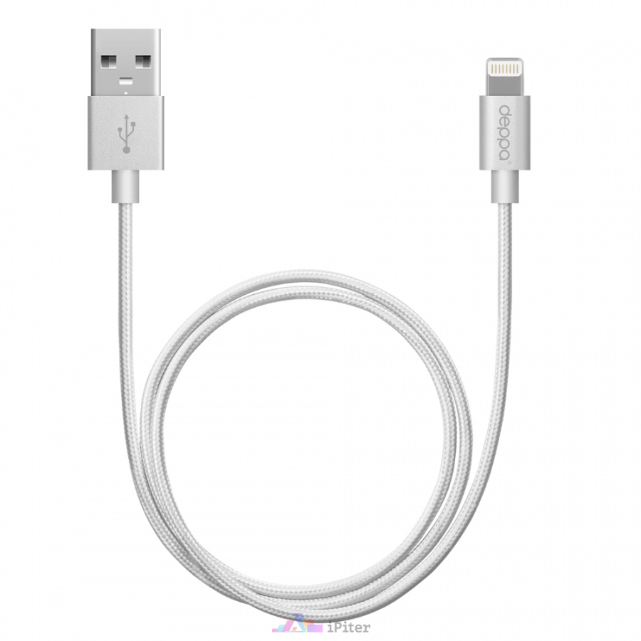Фото Дата-кабель Deppa USB - 8-pin для Apple, MFI, Silver