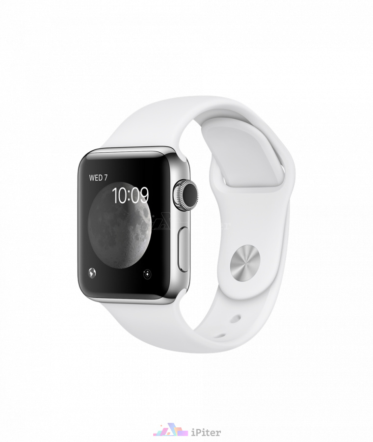Фото Купить Apple Watch Series 2, 38 мм, Stainless Steel Case with White Sport Band (MNP42) по низкой цене в СПб