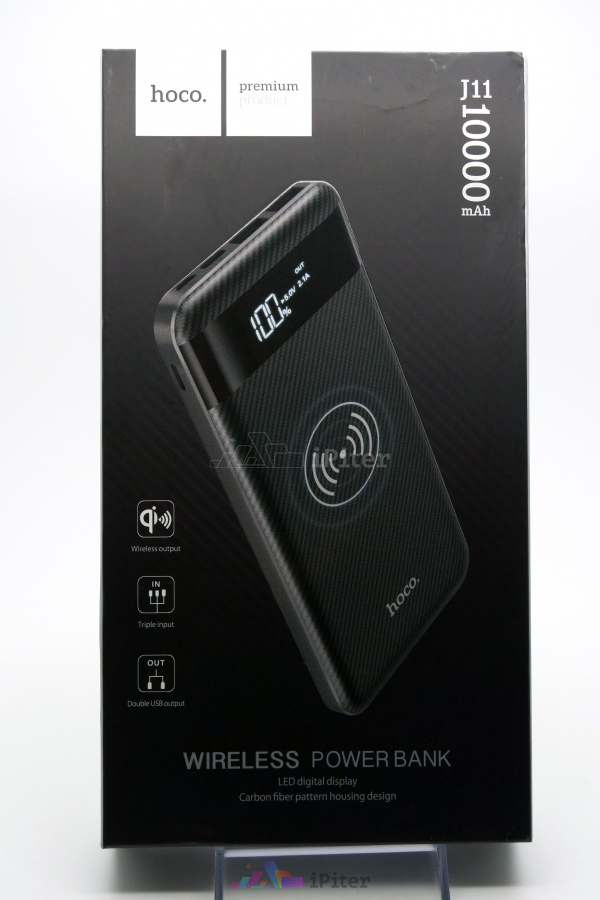 Фото HOCO Wireless PowerBank 10000mAh, Чёрный