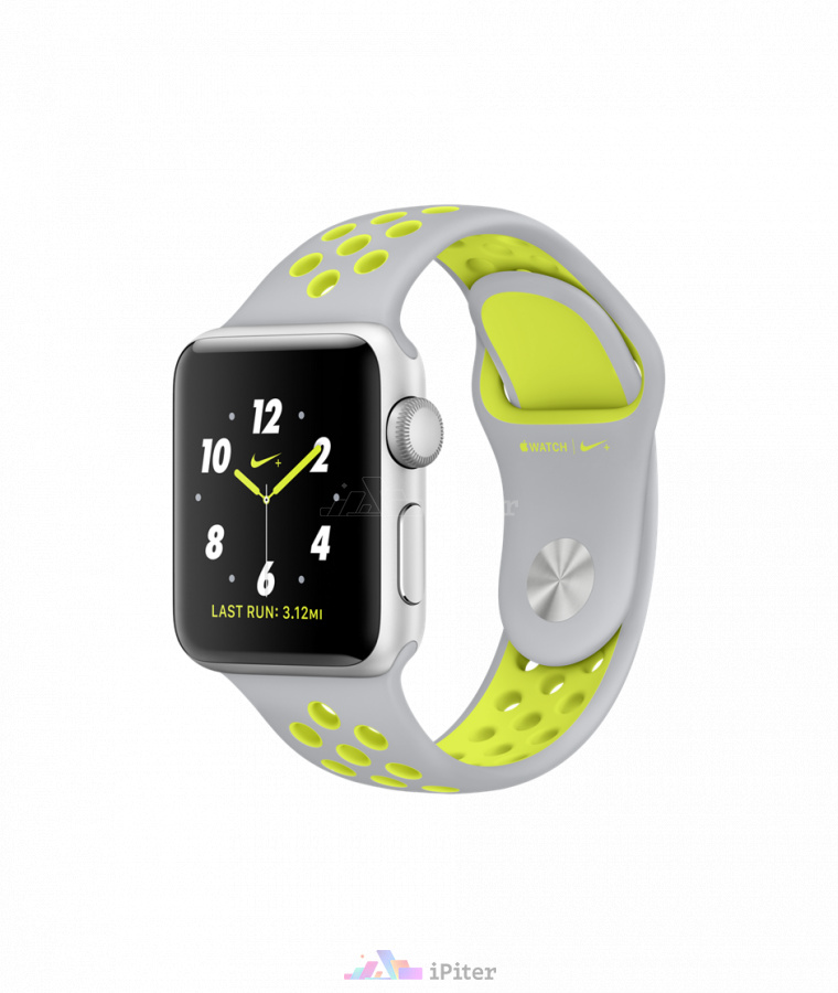 Фото Купить Apple Watch Nike+, 38 мм, Silver Aluminum Case with Flat Silver/Volt Nike Sport Band (MNYP2)