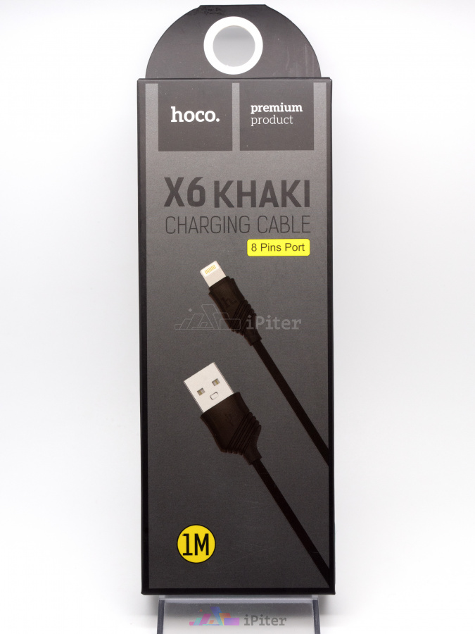 Фото Кабель lightning HOCO X6 Khaki Charging Cable, 1 метр, Чёрный