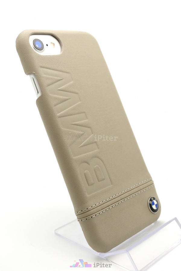 Фото Чехол BMW Leather Hard Case для iPhone 8 / 7, Бежевый