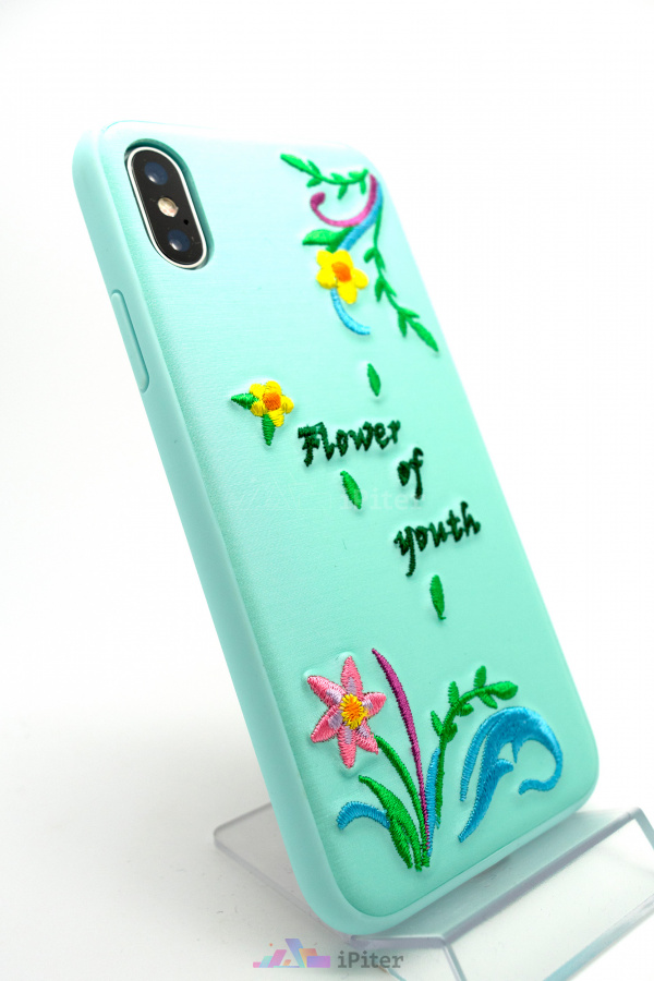 Фото Чехол Devia Flower Embroidery для iPhone X, Зелёный
